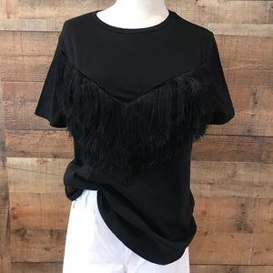 Zara Trafaluc Fringe Black T-Shirt medium NWT